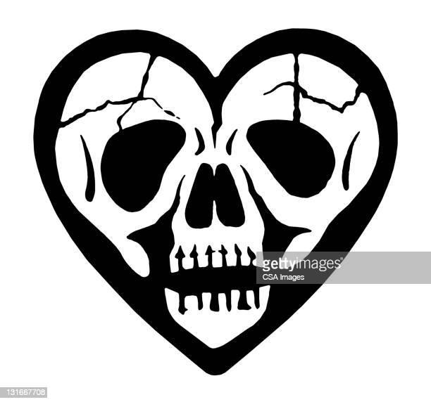 skull heart - spooky stock illustrations