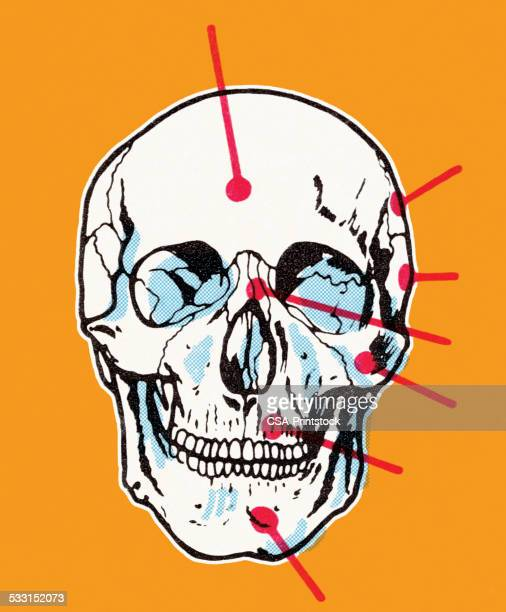 ilustraciones, imágenes clip art, dibujos animados e iconos de stock de cráneo sobre fondo naranja - 2015