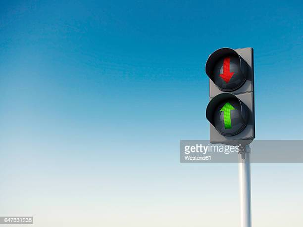 sky and traffic light, red and green arrow sign, 3d rendering - stoplight stock illustrations