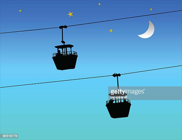 sky ride (vector) - steel cable stock illustrations, clip art, cartoons, & icons