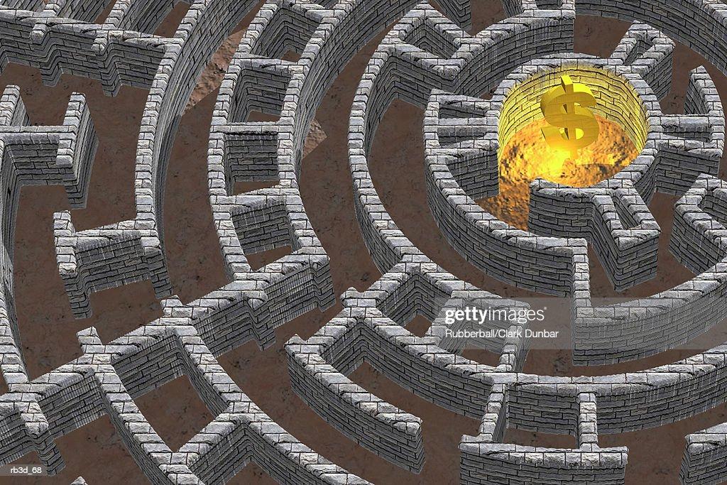 sky view of maze with dollar symbol golden center : Stockillustraties