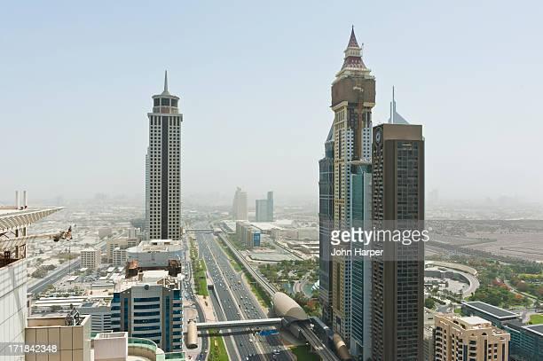 skyline, dubai - tall high stock illustrations
