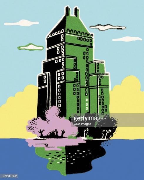 illustrations, cliparts, dessins animés et icônes de skyscraper - gratte ciel
