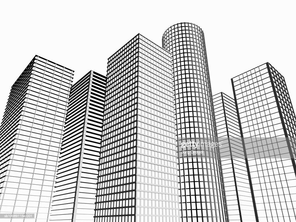 Skyscraper,  low angle view (digitally generated) : Stockillustraties