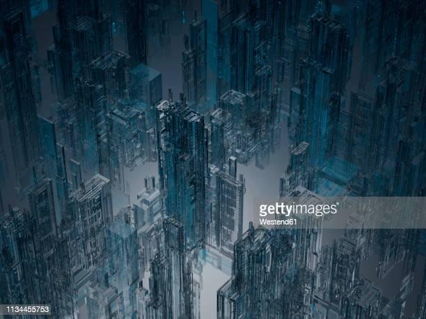 skyscrapers, 3d rendering - spooky stock illustrations