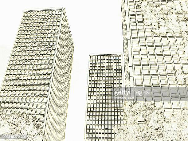 skyscrapers - tall high stock illustrations