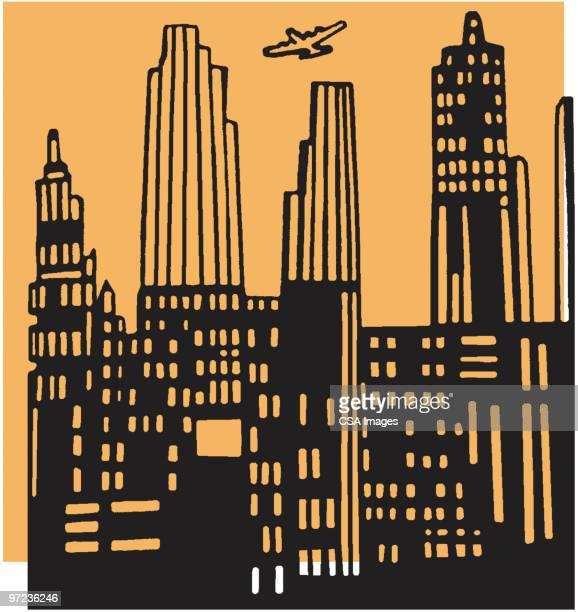 illustrations, cliparts, dessins animés et icônes de skyscrapers - gratte ciel