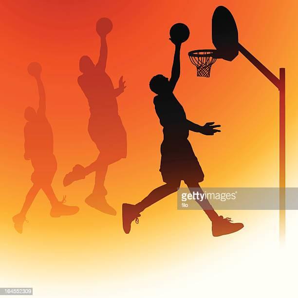 ilustraciones, imágenes clip art, dibujos animados e iconos de stock de dunk de baloncesto - canasta de baloncesto