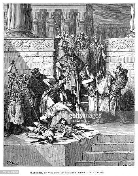 ilustraciones, imágenes clip art, dibujos animados e iconos de stock de slaughter of the sons of zedekiah engraving 1870 - matadero