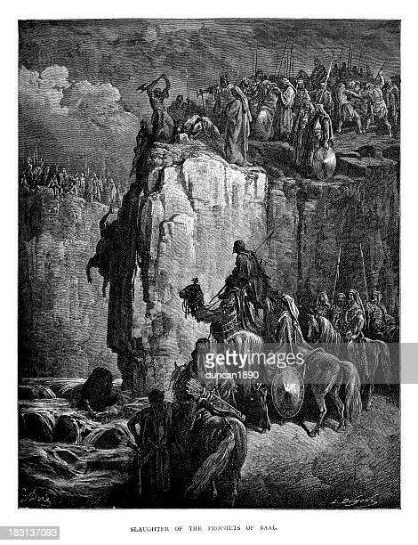 ilustraciones, imágenes clip art, dibujos animados e iconos de stock de el casandras estaban sacrificando baal - matadero
