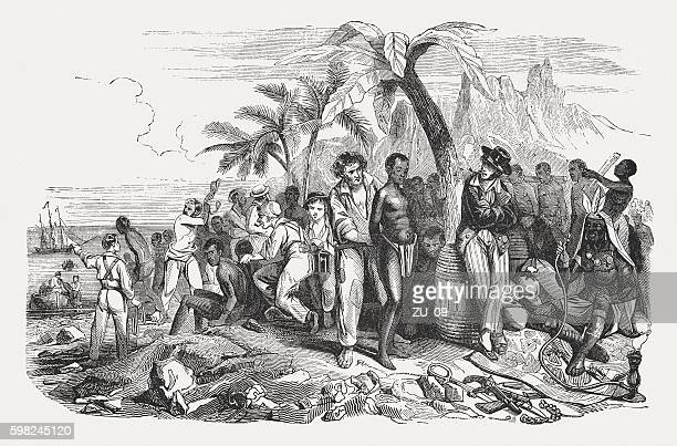 slave market on the african coast, wood engraving, published 1855 - sklavin stock-grafiken, -clipart, -cartoons und -symbole