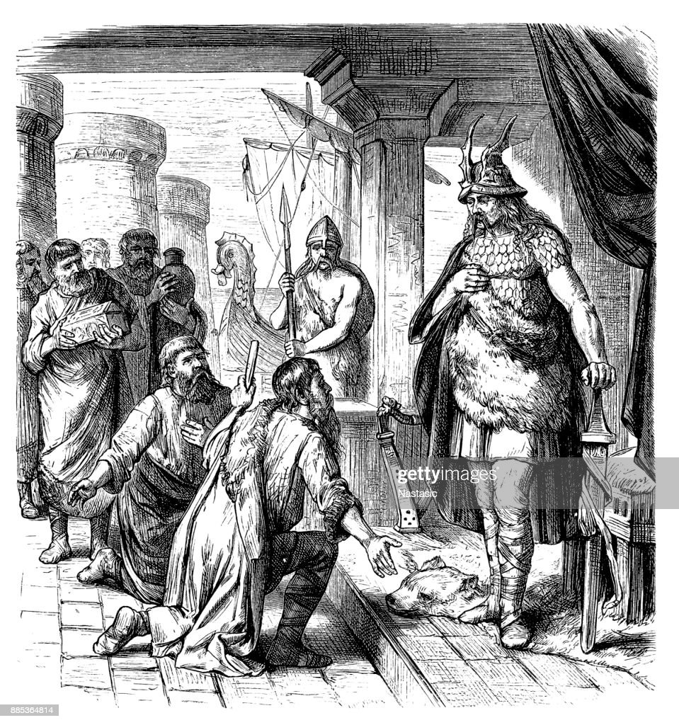 Slavic envoys before Rurik (c.830-c.879) in 862 : stock illustration