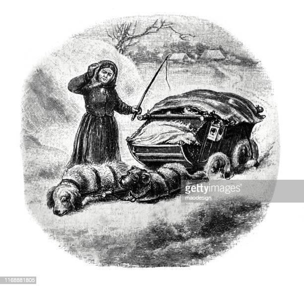 ilustrações, clipart, desenhos animados e ícones de trenó puxado por cães cansados - 1887