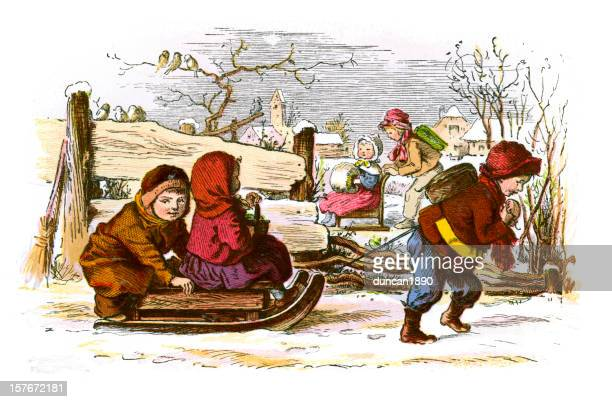 sledding in the snow - tobogganing stock illustrations, clip art, cartoons, & icons