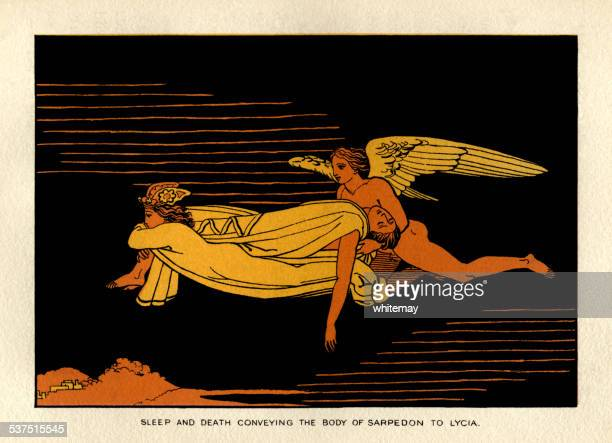 sleep and death conveying the body of sarpedon to lycia - trojan war stock illustrations, clip art, cartoons, & icons