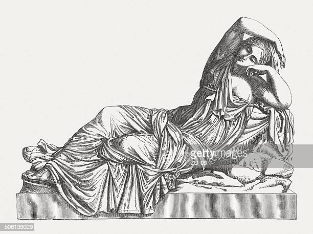 sleeping ariadne on naxos (greek mythology), wood engraving, published 1878 - greece stock illustrations