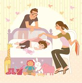 Sleeping baby and parents