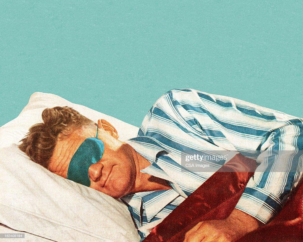 Sleeping Man Wearing Eye Mask : Stock Illustration