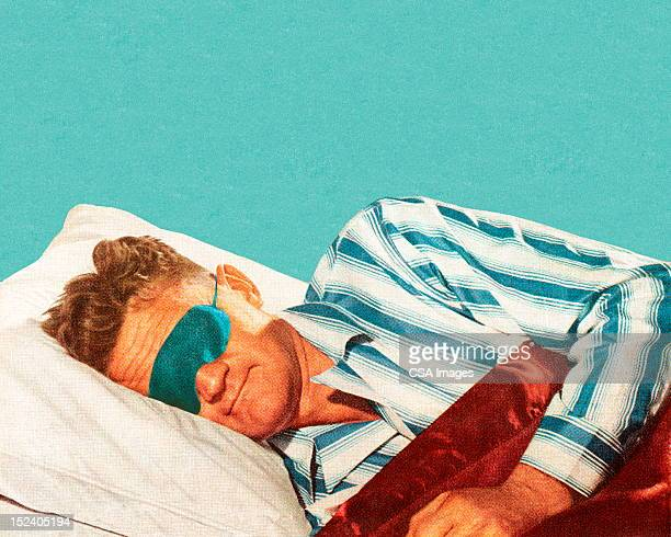 sleeping man wearing eye mask - sleeping stock illustrations