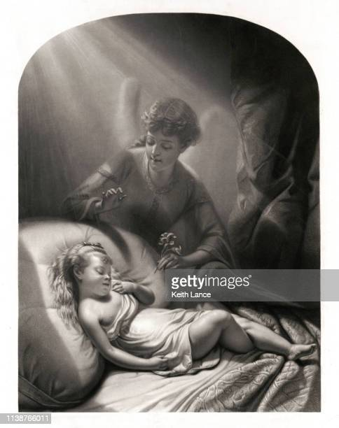 sleeping young girl visited by an angel - biblical event stock illustrations