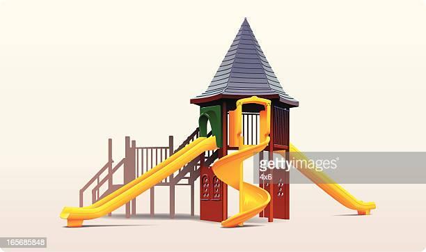 ilustraciones, imágenes clip art, dibujos animados e iconos de stock de portaobjetos en un parque - parque infantil
