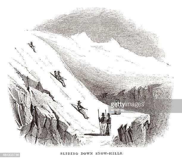sliding down snow-hills - ski slope stock illustrations, clip art, cartoons, & icons