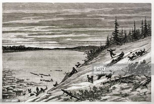 Sliding the slope of the frozen yukon river