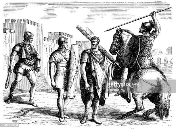 sling, infantry man, lictor and rider - roman stock illustrations, clip art, cartoons, & icons