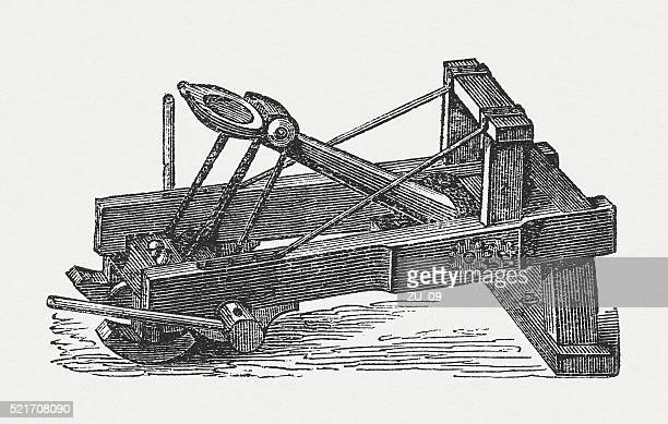 Slingshot in the past, wood engraving, published in 1882