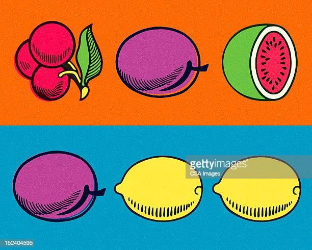 slot machine bar of fruit - bad luck stock illustrations, clip art, cartoons, & icons