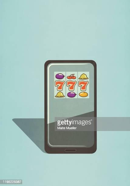 slot machine game on smart phone screen - mobile app stock illustrations