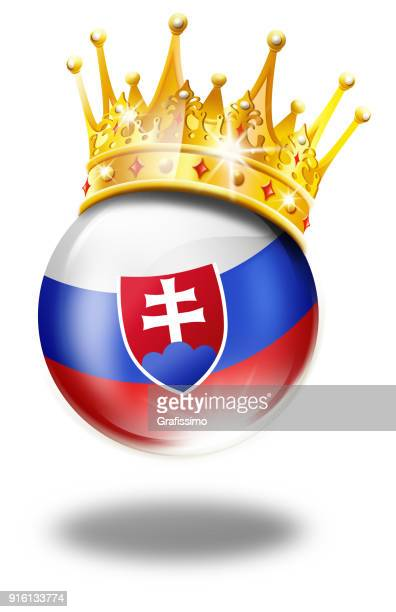 slovakia button with slovakian flag and winner crown isolated on white - traditionally slovak stock illustrations