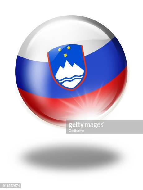 スロベニア-スロベニア語フラグ白で隔離ボタン - スロベニア国旗点のイラスト素材/クリップアート素材/マンガ素材/アイコン素材