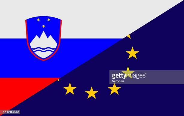 スロベニアと欧州連合旗 - スロベニア国旗点のイラスト素材/クリップアート素材/マンガ素材/アイコン素材