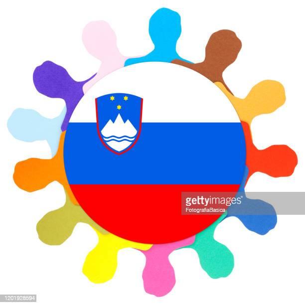 スロベニア人男性 - スロベニア国旗点のイラスト素材/クリップアート素材/マンガ素材/アイコン素材