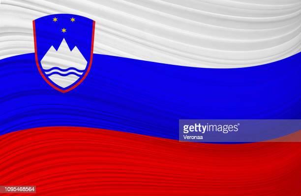 スロベニア-手を振る旗 - スロベニア国旗点のイラスト素材/クリップアート素材/マンガ素材/アイコン素材