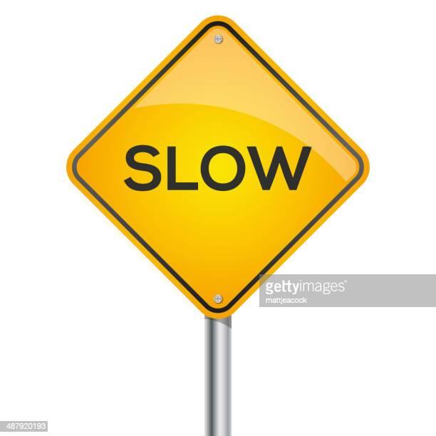 slow warning signpost - slow stock illustrations, clip art, cartoons, & icons