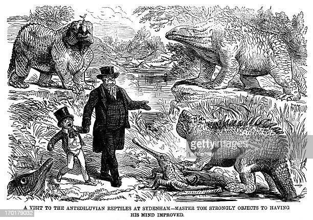 small boy scared by the crystal palace dinosaurs - crystal palace london stock illustrations