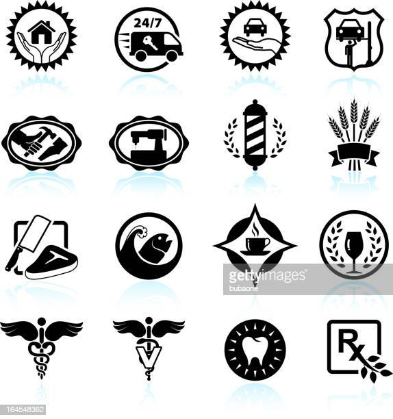 small business badges black & white vector icon set