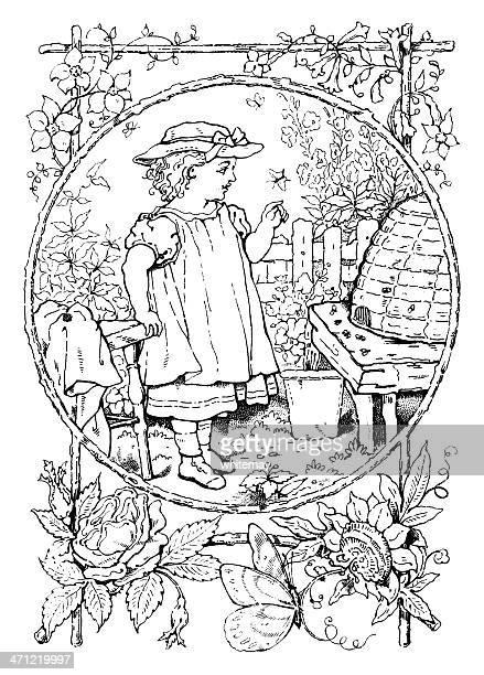 Small girl examining a bee-hive - Victorian drawing