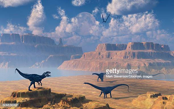 A small group of Diplodocus sauropod dinosaurs being stalked by a carnivorous Allosaurus dinosaur.