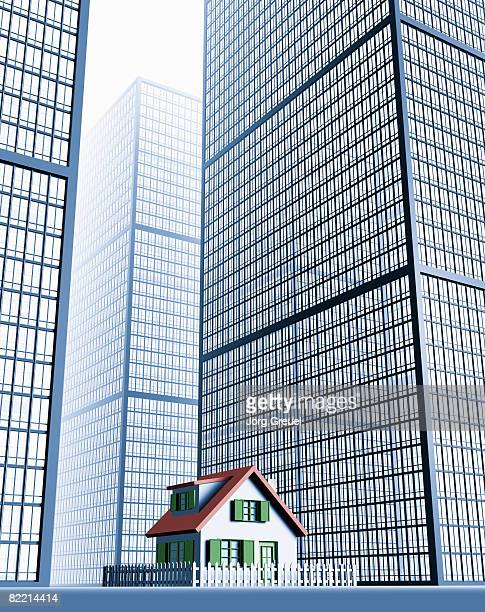 small house among skyscrapers - surrounding stock illustrations, clip art, cartoons, & icons