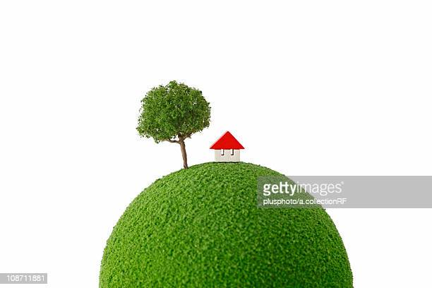 Small house and tree on globe