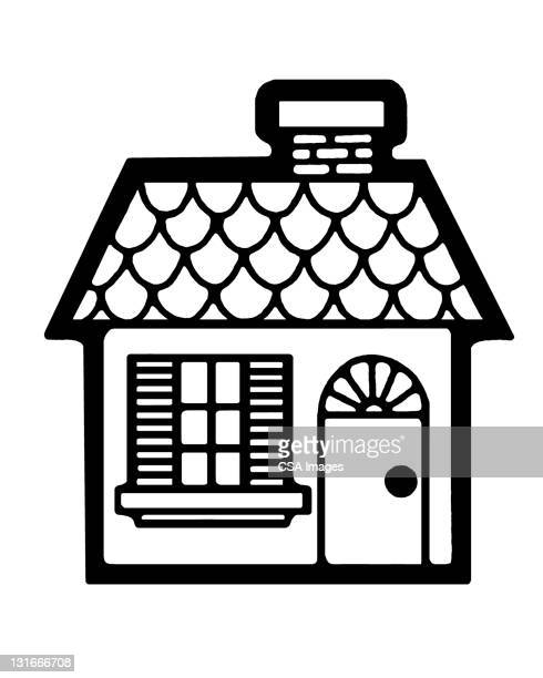small house - facade stock illustrations
