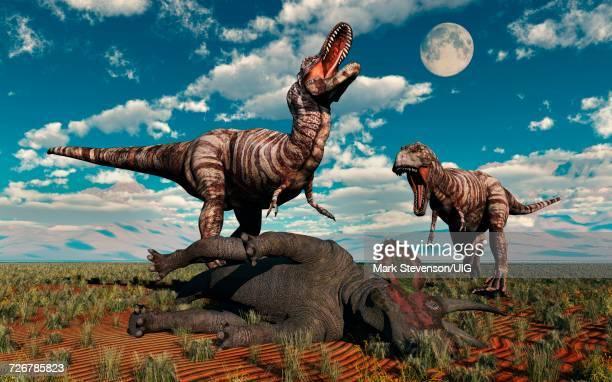 Small Pack Of Predatory Allosaurus Dinosaurs