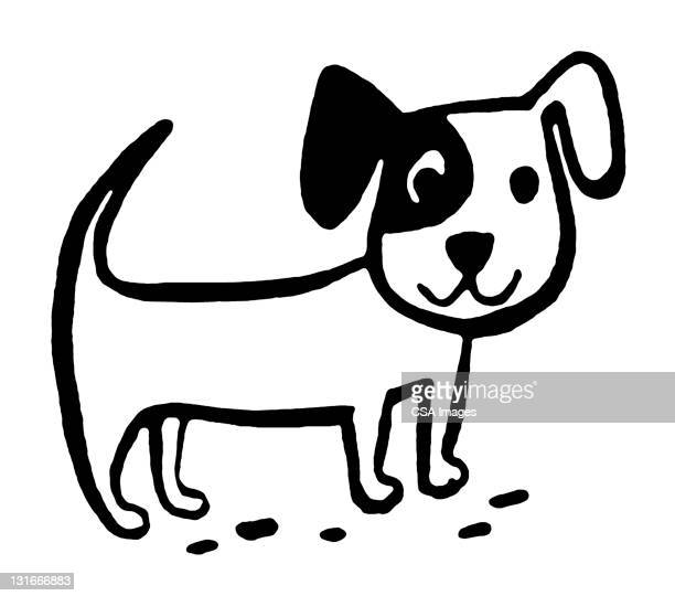 small puppy - illustration technique stock illustrations