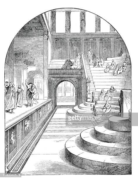 small theater, pompeii - epidaurus stock illustrations