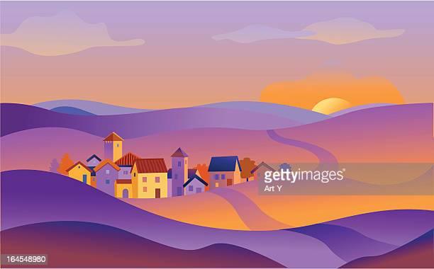small town - village stock illustrations