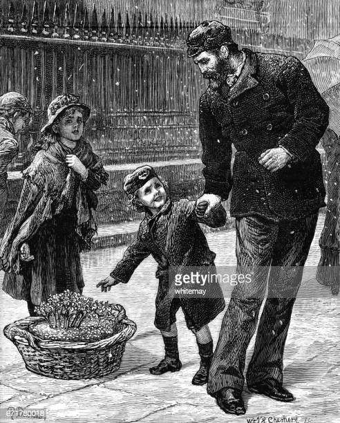 Small Victorian boy asking to buy violets from a young flower-girl