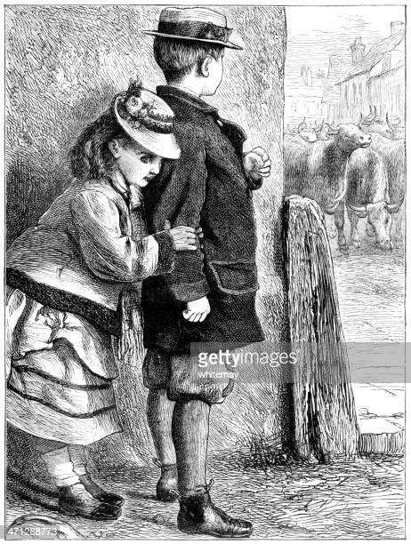 small victorian boy protecting girl from a herd of cattle - corner of building stock illustrations, clip art, cartoons, & icons